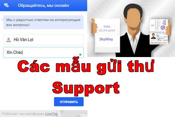 Mẫu gửi thư gữi hỗ trợ cho support công ty Sky Way